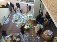 All of the students recycling their textbooks