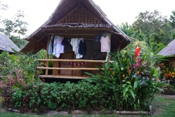 Our little hut with laundry hanging
