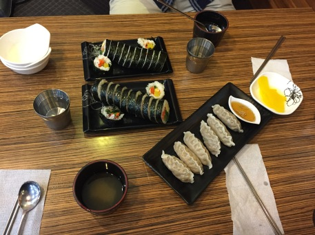 Tuna Gimbap and Galbi Mandu - two of the most commonly eaten Korean foods